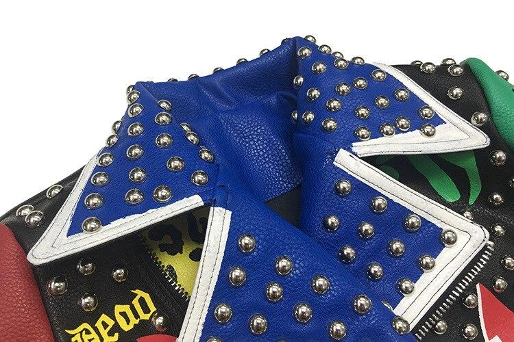 Outono punk graffiti falso jaqueta de couro