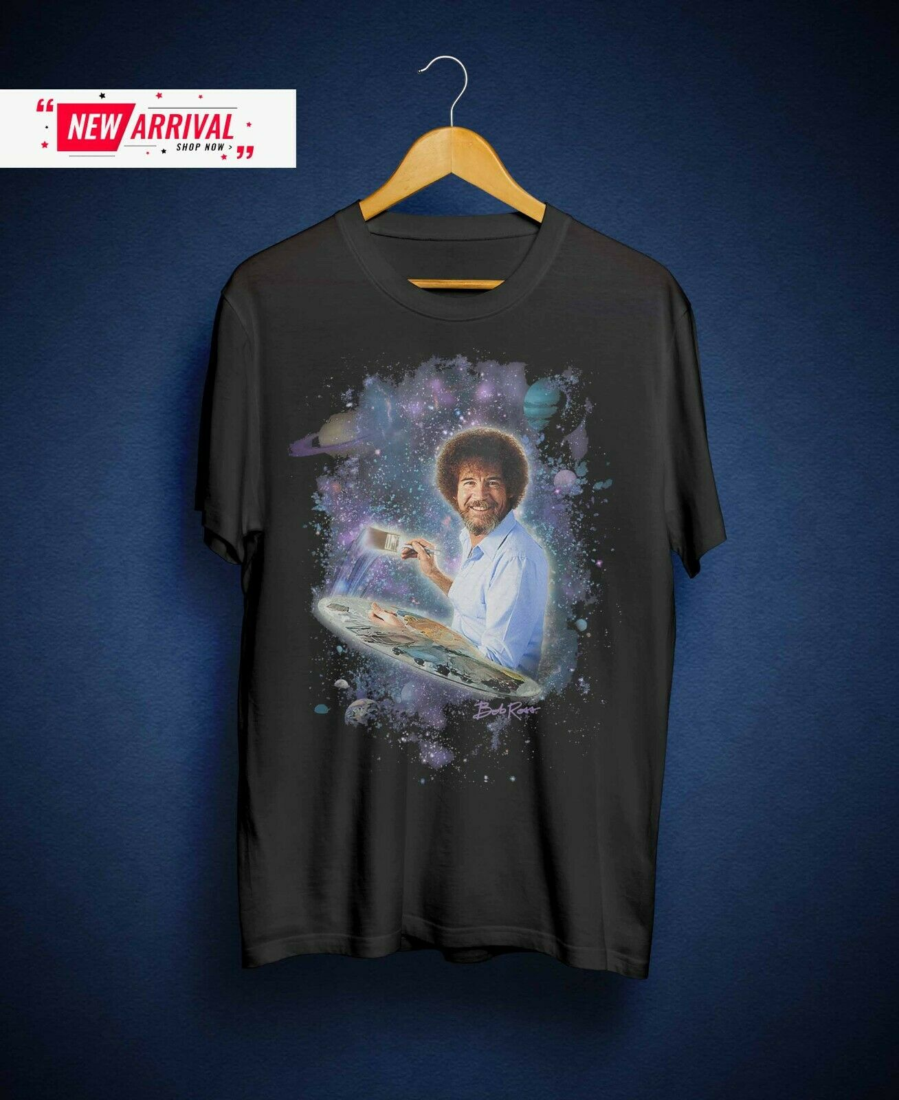 Bob Ross Painting The Galaxy & Adults Black Tee