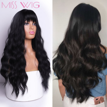 MISS WIG Long Wavy Wigs for Black Women African American Synthetic Hair Grey Brown Wigs with Bangs Heat Resistant Wig 1