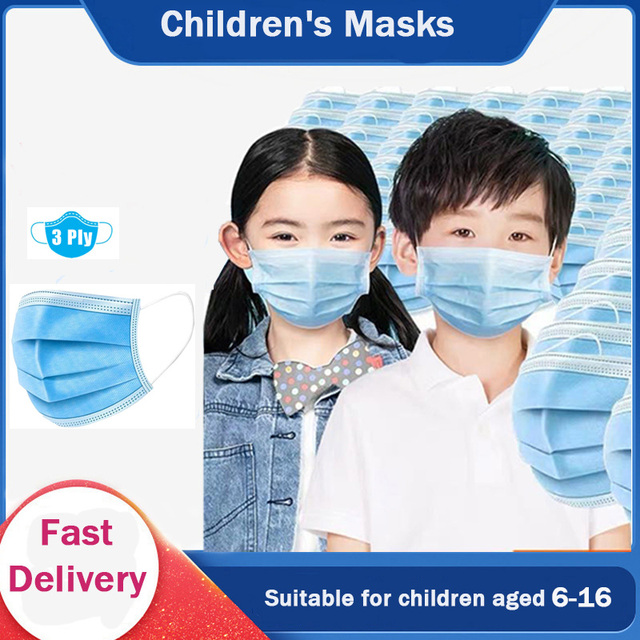 6-16 years old Children's 3 Layers Face Mask Kid Non-woven  PP Face  Anti-bacterial Anti-flu  Disposable Mask Health Care FF 1