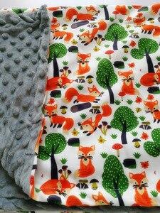 Image 3 - طفل بطانية قبعة بطانية الربيع الطفل طباعة الثعلب الفانيلا المرجان بطانية بطانية مكيف الهواء بطانية للأطفال 75*120 سنتيمتر