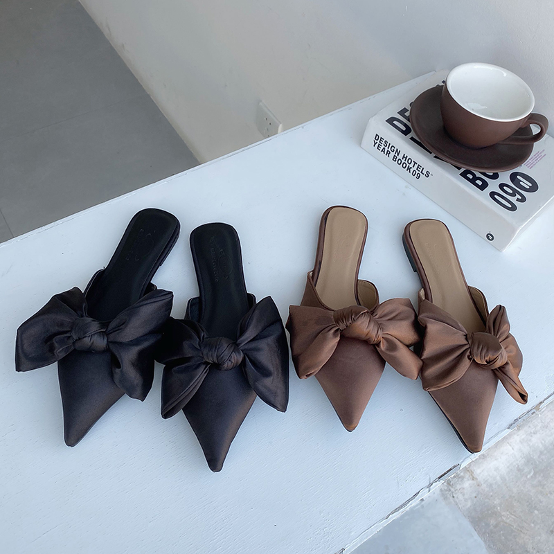 Women Casual Flats Heeled Slippers Shoes Woman Outdoor Slides Summer Women Bow Slippers Shoes Mules Single Shoes Dropshipping