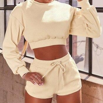 Long Sleeve Shirt Women Yoga Set Fitness High Waist shorts Suit Sportwear Workout Tracksuit Cotton Gym Running Clothing 1