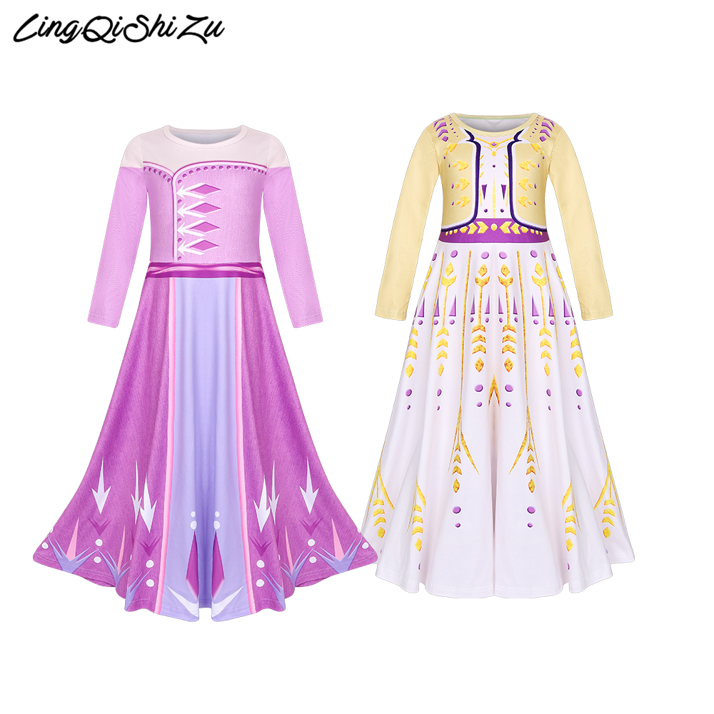 Baby Girls Dresses Queen Princess Anna Elsa Dress children girl Party Dress Kids Elza Costume Pink Color Clothes 8174
