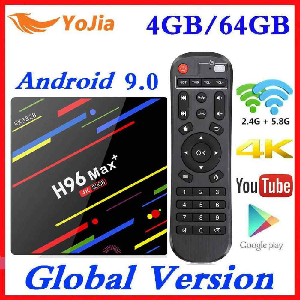 4GB RAM 64GB ROM 4K Smart TV Box Android 9.0 H96 MAX Plus RK3328 décodeur 2.4/5G WIFI H96Max + lecteur multimédia Youtube 2G16G