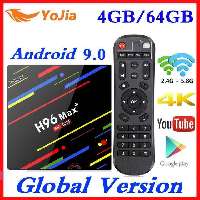 4GB RAM 64GB ROM 4K Smart TV Box Android 9.0 H96 MAX Plus RK3328 Set top box 2.4/5G WIFI H96Max +  Youtube Media player 2G16G