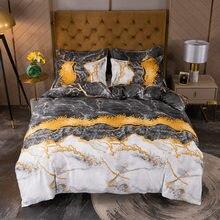 Роскошный комплект постельного белья с мраморным принтом простые