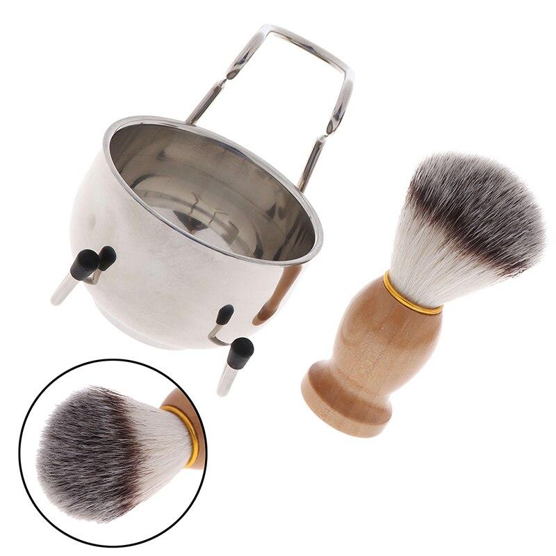 3 In 1 Stainless Steel Shaving Soap Bowl +Shaving Brush+ Shaving Stand Bristle Hair Shaving Brush Beard Cleaning Tool Set Men