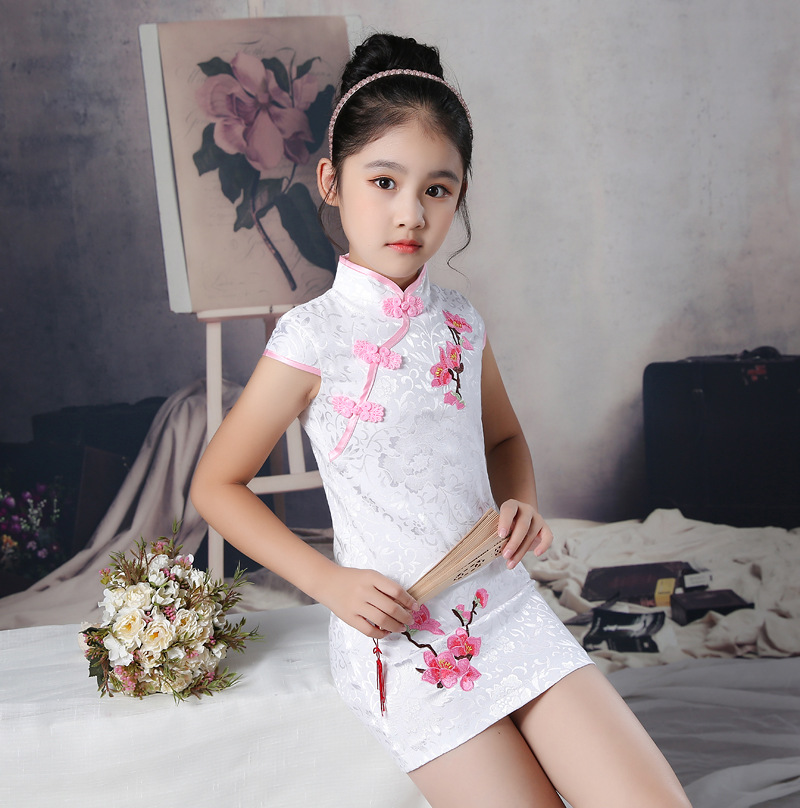 Flower Girl Princess Wedding Bridesmaid Floral Embroidery Party Dress Baby Girl Graduation Ball Performance Chinese Cheongsam
