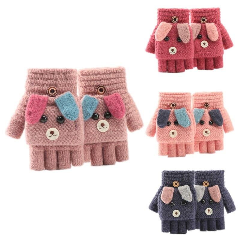 Children Kids Winter Warm Convertible Flip Top Gloves Cartoon Dog Knitted Plush Lined Flap Cover Fingerless Mittens