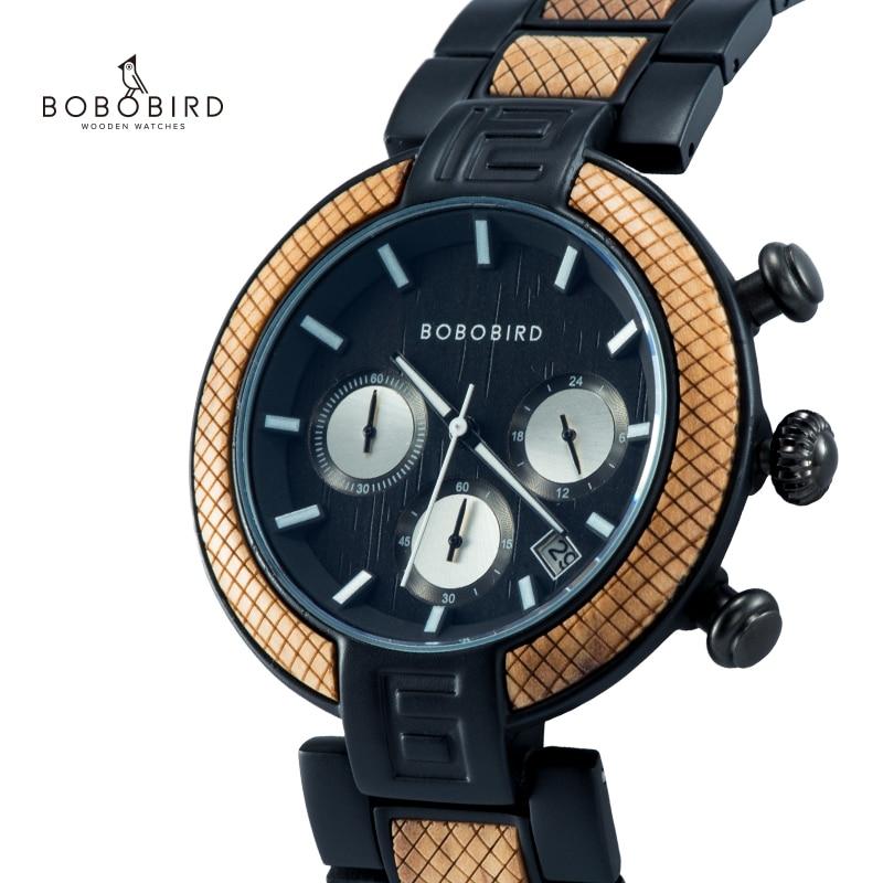 Reloj Hombre BOBO BIRD Wood Watch Men Stopwatch Handmade Male Quartz Wristwatch Show Date Wooden Gift For Him  Erkek Kol Saati