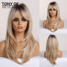긴 물결 모양의 계층화 된 갈색 금발 Ombre 머리 가발과 Bangs 내열성 합성 가발 여성을위한 Afro Cosplay Natural Wigs