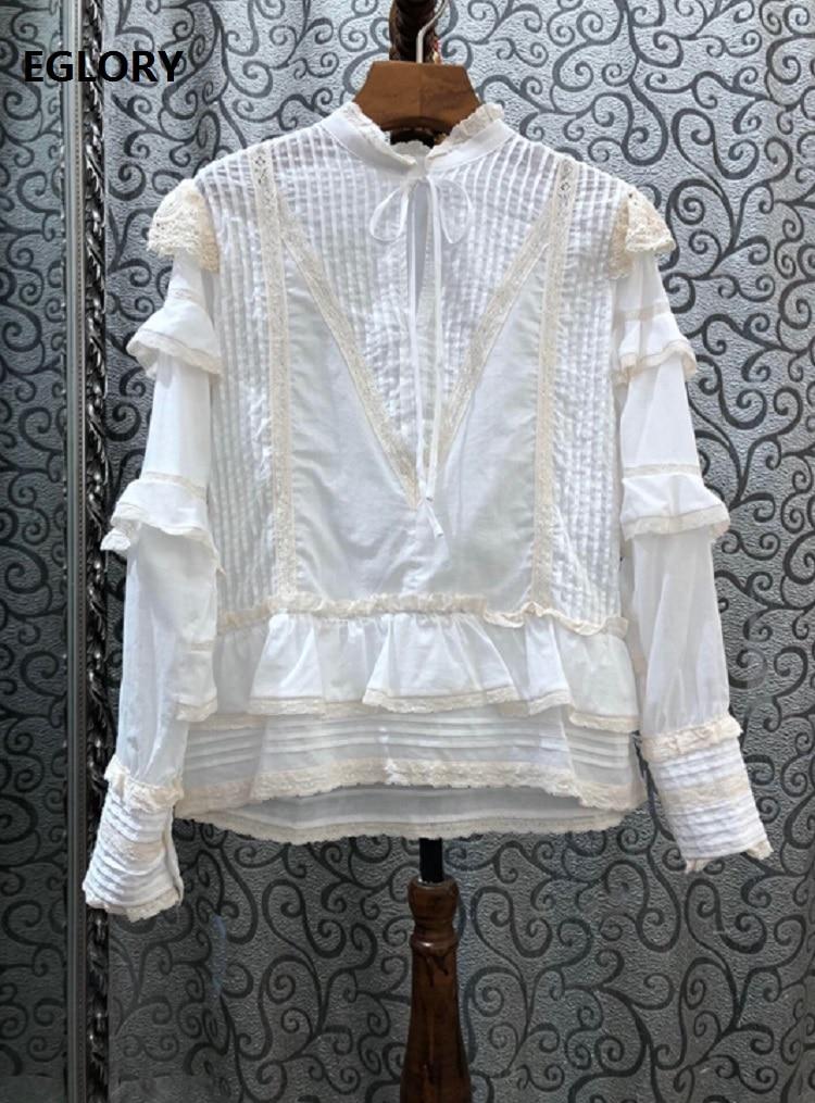 Блузки из 100% хлопка, рубашки, весна осень 2020, белые и синие Топы для женщин, каскадные кружевные лоскутные Блузы с длинным рукавом