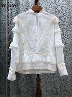 100%Cotton Blouses Shirt 2020 Spring Autumn White Blue Tops Women Cascading Ruffle Lace Patchwork Long Sleeve Blouse Designer