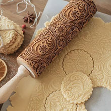 Christmas Embossed Rolling Pin Wood Carved Cookies Biscuit Fondant Dough Baking Engraved Printed Roller Holiday Gifts
