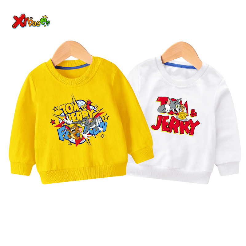 Kids Hoodie Sweatshirt Toddler baby girl cat and mouse 2019 Autumn Winter Pullover white Long Sleeve Cartoon boy clothes 3 years
