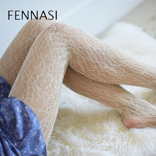 цена на FENNASI Women Lace Classic Stockings Sexy Milky White Pantyhose Thin Cute Floral Pattern Hollow Out Tights Girls Hot Stockings