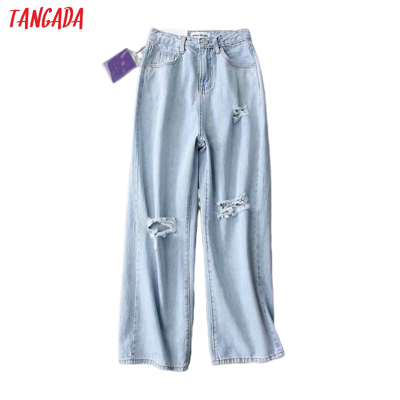 Tangada Fashion Women High Waist Rippped Jeans Long Trousers Pockets Zipper High Street Female Blue Denim Pants 7B01