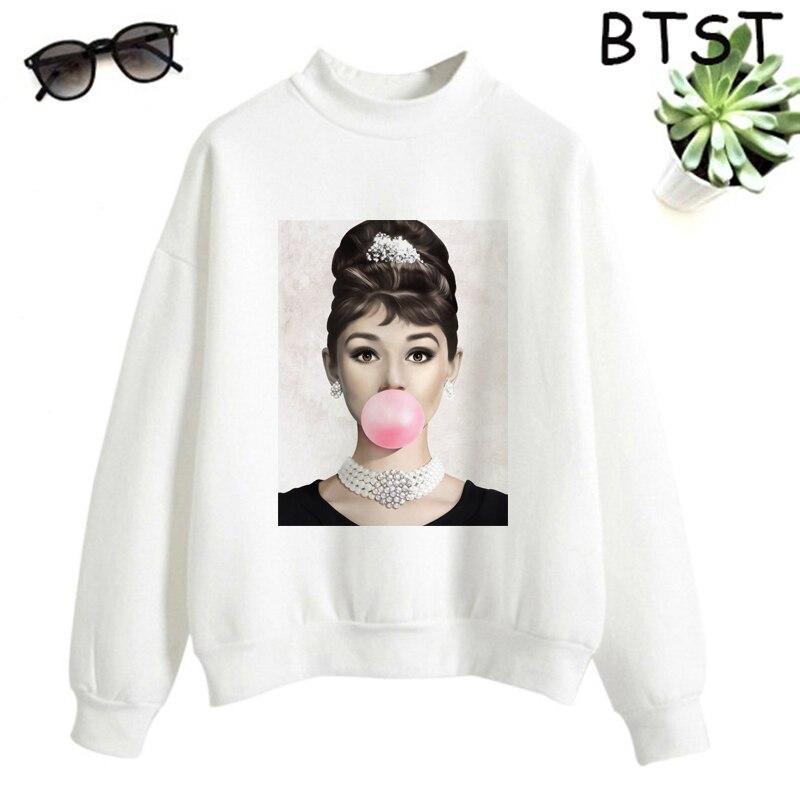 Audrey Hepburn Pink Bubble Kpop Clothes Polyester White Sweatshirt Pullovers Women Sweatshirt Japanese Gothic Harajuku Shirt 2