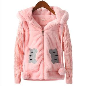 2-12 years 2020 Autumn Winter Girls Woolen Coat Rabbit Jacket Hooded Children Coat Winter Girls Thick Warm Jacket For Girls Kid(China)