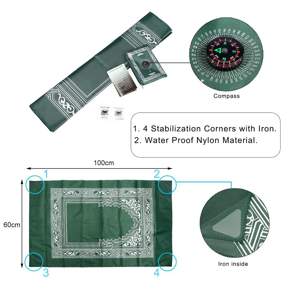 Image 3 - 100*60cm Pocket Prayer Mat Nylon Muslim Travel Praying Rug 