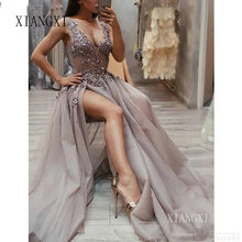 Latest Fashion V Neck Gray Prom Dresses Long With Appliques Beading Sexy Side Slit Tulle Evening Dress Prom Party Gown 2019(China)