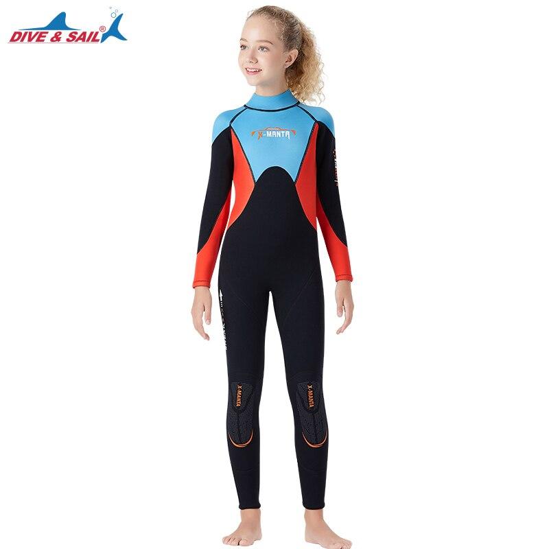 Combinaison de natation à manches longues en néoprène pour fille de 2.5MM combinaison de plongée Anti-UV à manches longues