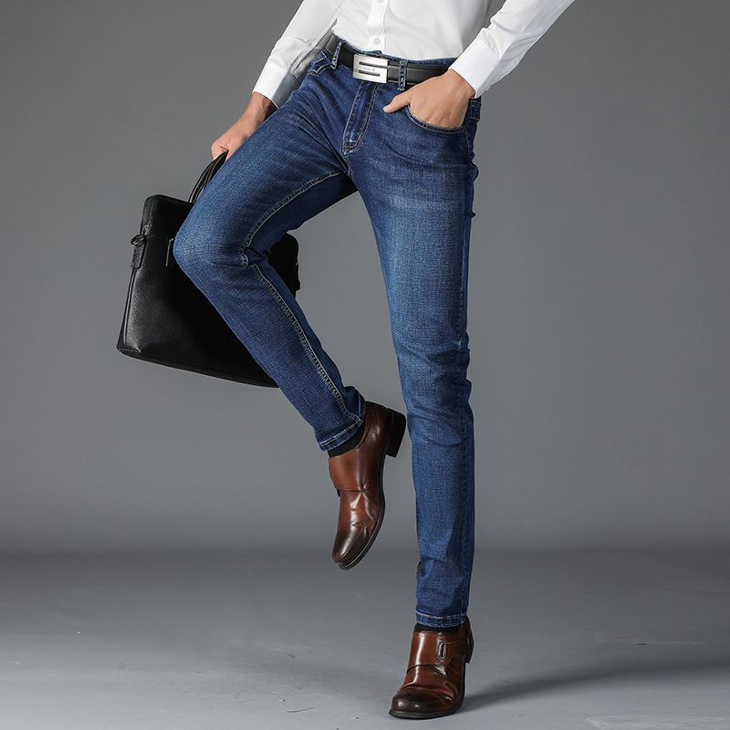 2018 Summer MEN'S Jeans Men's Trend Slim Fit Thin Business Casual Youth MEN'S Denim Trousers