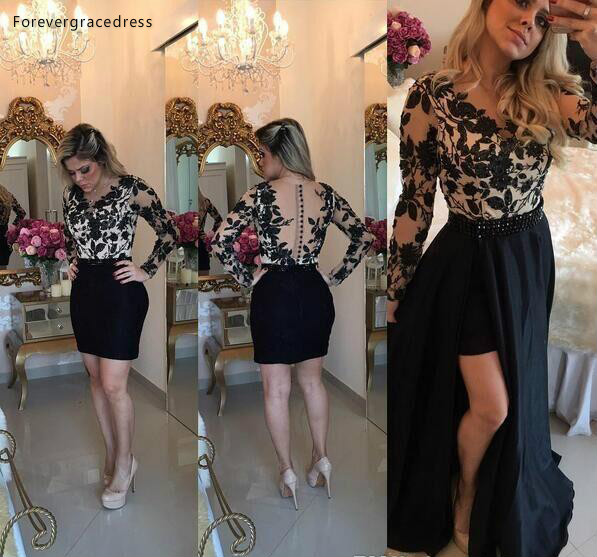 2019 Cheap Sheath   Cocktail     Dress   Lace Appliques Long Sleeves Semi Club Wear Homecoming Graduation Party Gown Plus Size