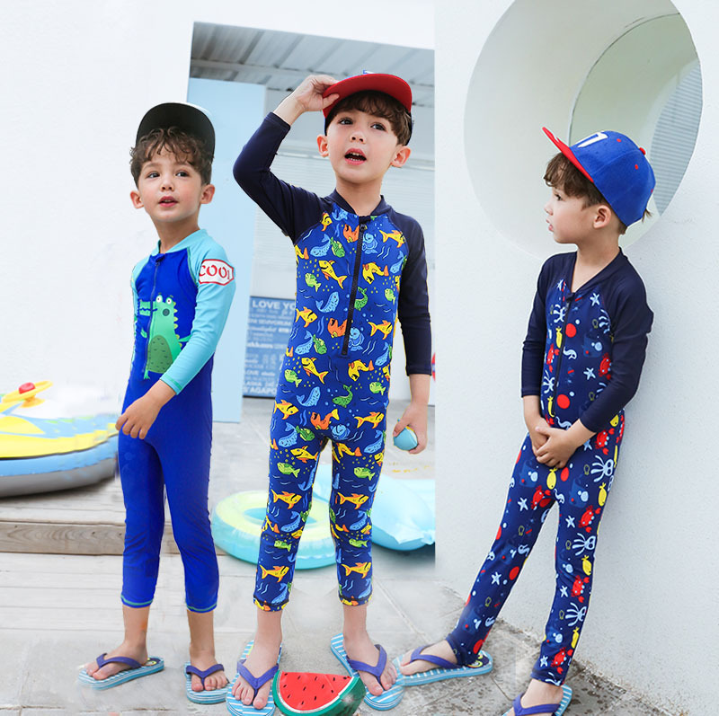 2019 New Style Big Boy Cute BOY'S Sun-resistant One-piece Hot Springs Two-Piece Set KID'S Swimwear Long Sleeve Diving Suit