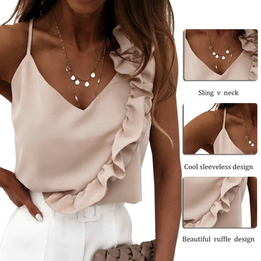 2021 New Women Summer Blouse Shirts Sexy V Neck Ruffle Blouses Backless Spaghetti Strap Office Ladies