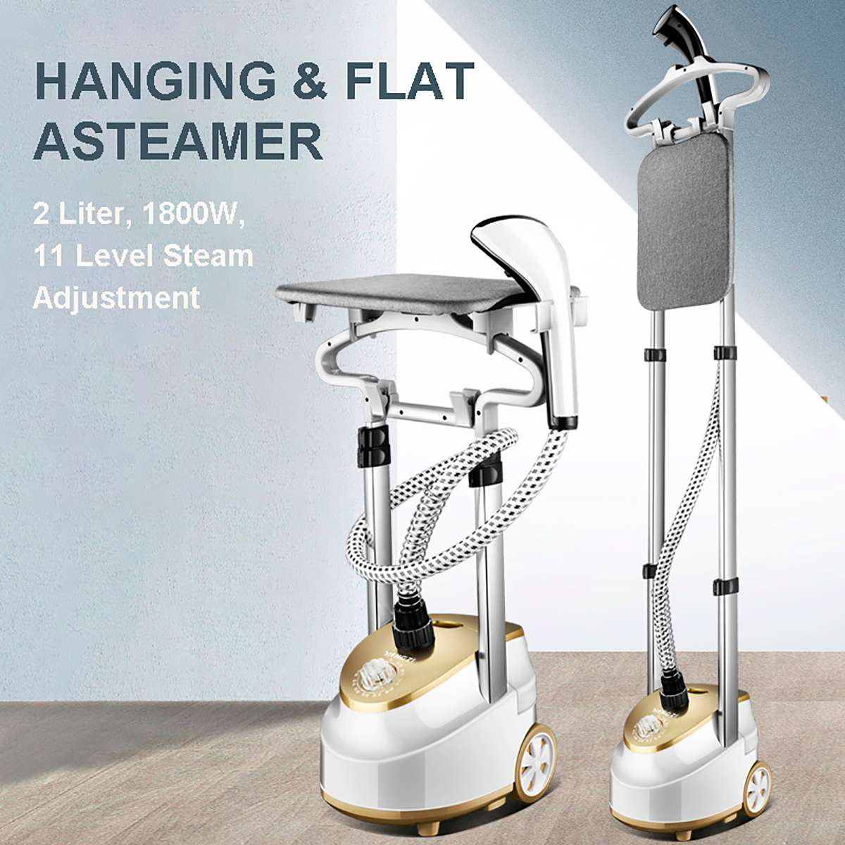 1800W Garment Steamer Household Handheld Ironing Machine 10 Gear Adjustable Vertical Flat Steam Iron Clothes Steamer