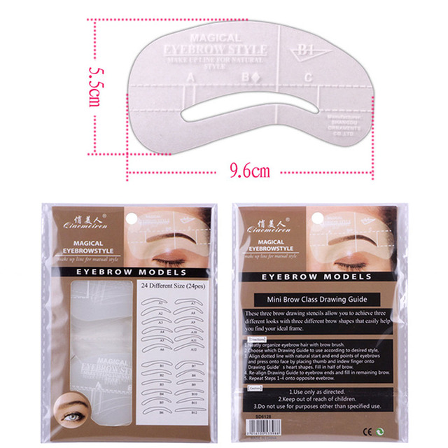 24 Styles Eyebrow Grooming Stencil Kit MicrobladingTemplate Permanent Makeup Eyebrow Training Skin Tattoo Supplies Shaping Tools 5