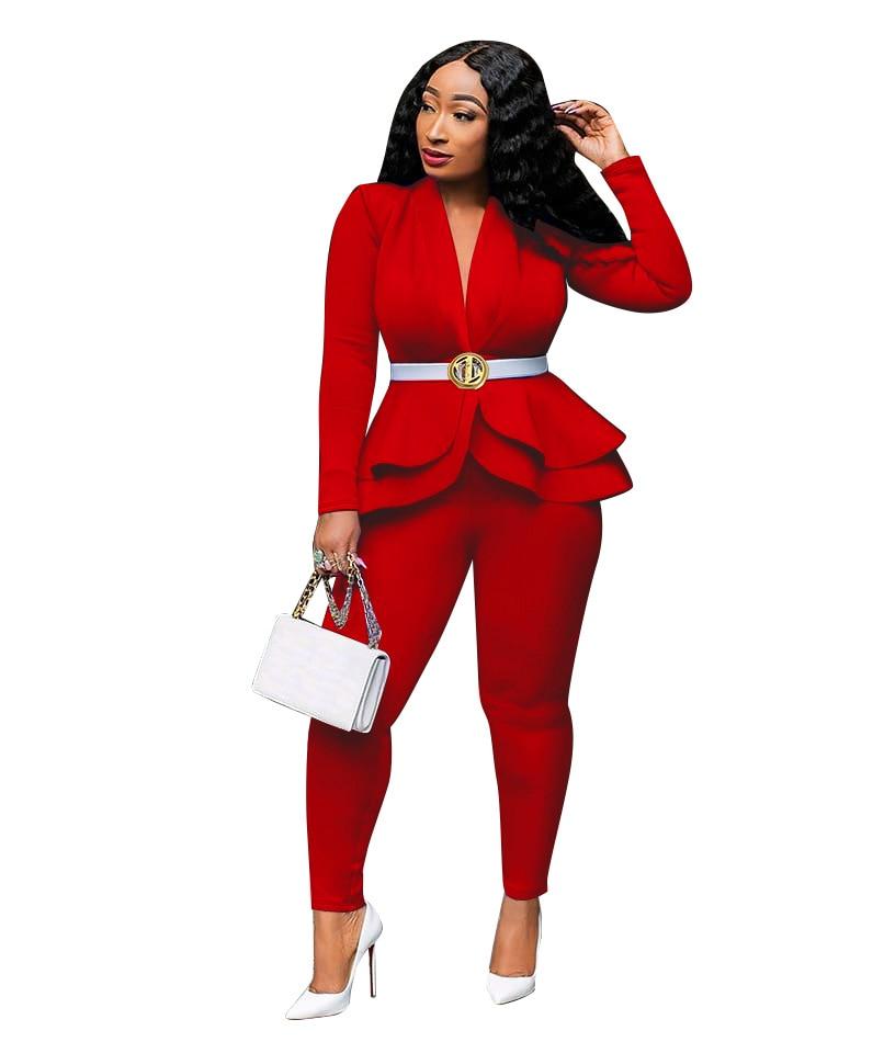 Ruffle Blazer Pants Set Office Lady Work Day Wear Autumn Full Sleeve Two Piece Set Women Party Vestidos Business Uniform Outfits
