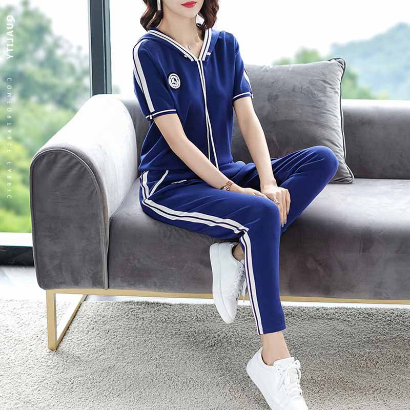 Ozhouzhan Fashion Viscose Short Sleeve Casual Sports WOMEN'S Suit 2019 Summer New Style Western Style Knitted Piece Thin