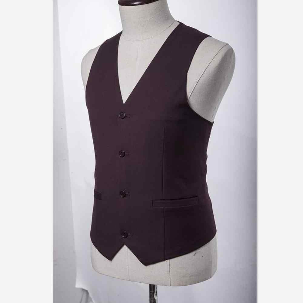 Mężczyzn 3 sztuka garnitur (kurtka + spodnie + kamizelka) chiński styl stanąć kołnierz garnitur męskie ślubne Groom Slim Fit Plus rozmiar 4XL zestaw blezer Tuxedo