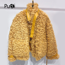 Pudi TX223910 women winter casual 100% Real sheep fur coat jacket overcoat lady fashion genuine outwear