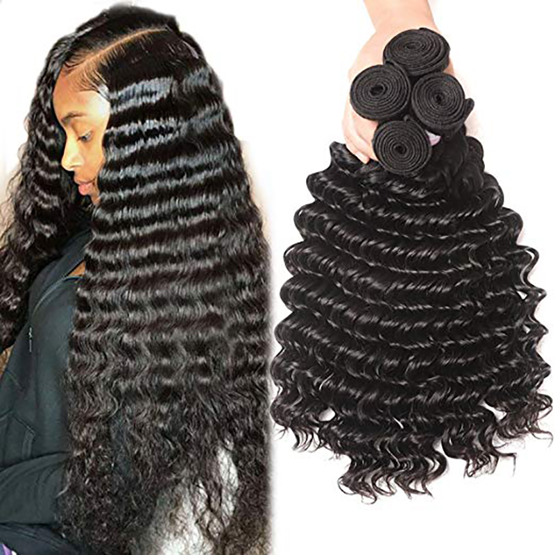 Rosabeauty 1/3/4 Bundles 28 30 32 34 36 40 Inch Deep Wave Peruvian Hair Weave Bundles Kinky Curly Hair Bundles Water Wave Hair