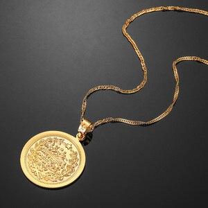 Image 4 - Vintage Gold Farbe Bijoux Männer Muslimischen Islam Anhänger Arabische Allah Nahen Osten Halsketten & Bibel Vers Gebet Münze Schmuck