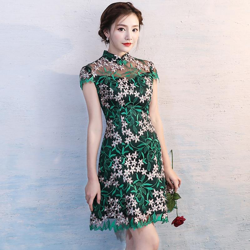 Green Lace Dress Traditional Chinese Dress Ladies Evening Dresses Vintage Cheongsam Women Bride Short Modern Cheongsam  S-3XL