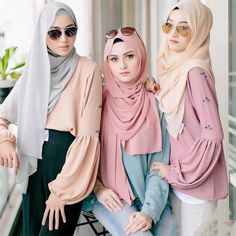 Muslim Hijab Long Scarf Wrap Scarves Women Fashion Chiffon Headscarf Soft Scarves Lightweight Shawls