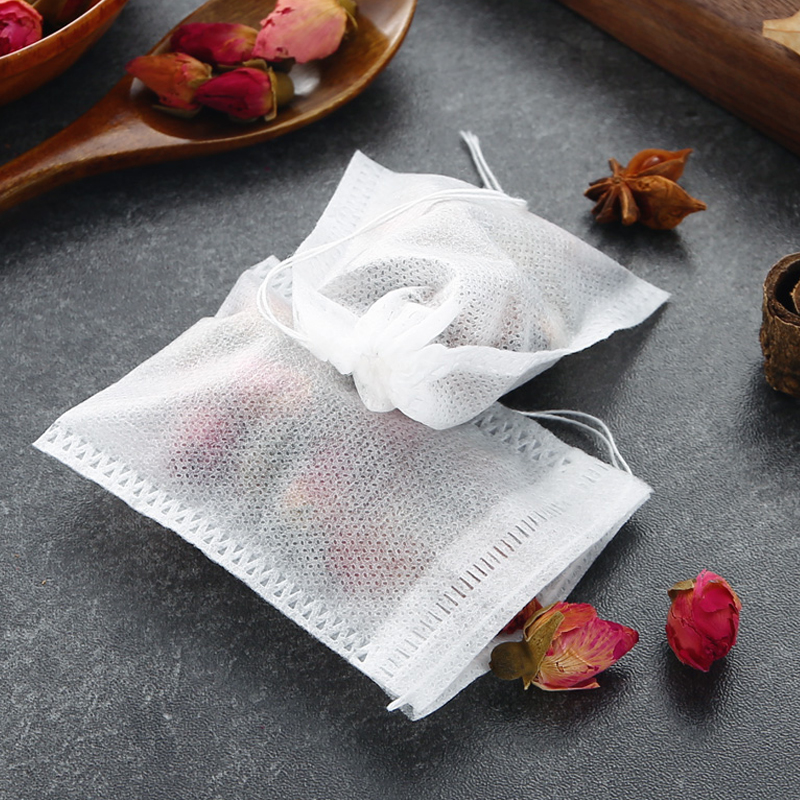 Coffee Pouches Cook Herb Spice Tools Multifunction 100Pcs  Drawstring Pouch Tea Bags Seal Filter Medcine Bags Non-woven