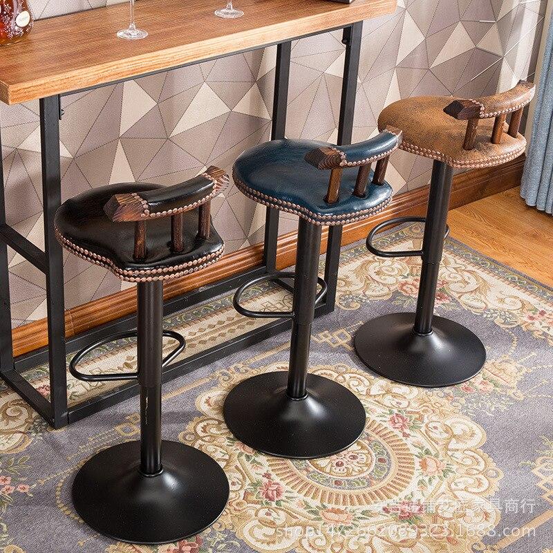 Retro Literature Bar Stool Dining Chair High Stool Bar Lift Household Chair Modern Bar And Home Furniture