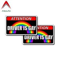 Aliauto 2 X kreatywna uwaga naklejki samochodowe kierowca jest Gay naklejka z pvc dla chevroleta Cruze Ford Volkswagen, 11CM * 7CM