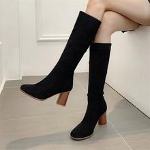 купить Plus Size 34-48 High Heels Knee High Boots Women Flock Leather Winter Boots Women Long Boots Sexy Fashion 2019 Pumps Shoes Boots дешево
