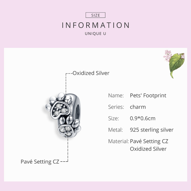 bamoer Pet's Footprint Stopper Charm for Women Original Silver 925 Bracelet DIY Jewelry Making Charms with Silicone SCC1312  My Pet World Store