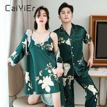 Caiyier 2020 шелковые пижамные комплекты для влюбленных с цветочным