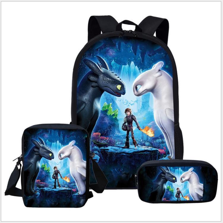 New 17 Inch How To Train Your Dragon 3pcs/Set Children School Bags Orthopedic Backpack Kids School Boys Girls Mochila Infantil
