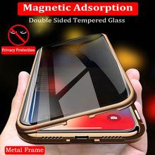 Privacy Tempered Glass Magnetic Case for iPhone XS MAX XR X 8 7 Plus Anti Peep Magnet Metal Bumper Full Body Protection Cover 360 full magnetic protection shell for iphone anti peep case metal frame double sided tempered glass for xs max 7 8 x xs xr