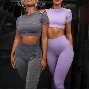 4PCS Seamles Sport Set Frauen Lila Zwei 2 Stück Crop Top T-shirt Bh Legging Sportsuit Workout Outfit Fitness Tragen yoga Gym Sets